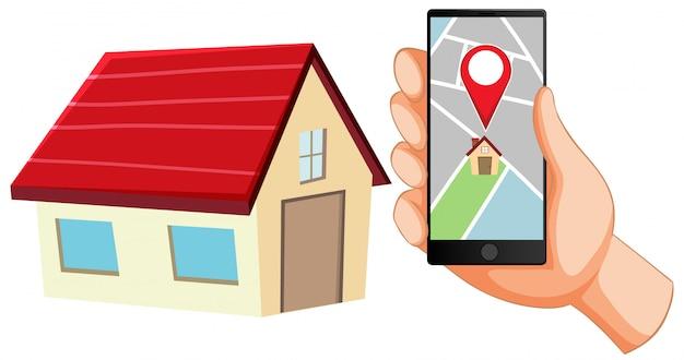 Pin de ubicación en el icono de la aplicación móvil