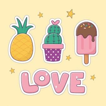 Piña cactus helado parche moda insignia etiqueta icono de decoración