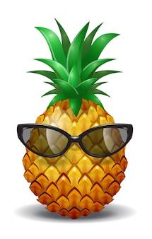 Piña con gafas de sol. jugo de piña, fruta tropical