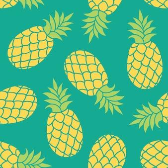 Piña dibujada a mano. patrón tropical colorido de verano
