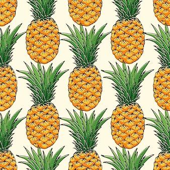 Piña dibujada a mano de patrones sin fisuras