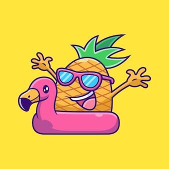 Piña con dibujos animados de neumáticos flamingo. ilustración de icono de vector de fruta, aislado en vector premium