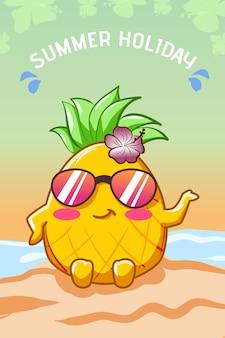 Piña feliz y linda en la playa en la ilustración de dibujos animados de verano
