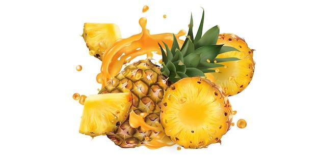 Piña fresca y un chorrito de jugo de frutas.