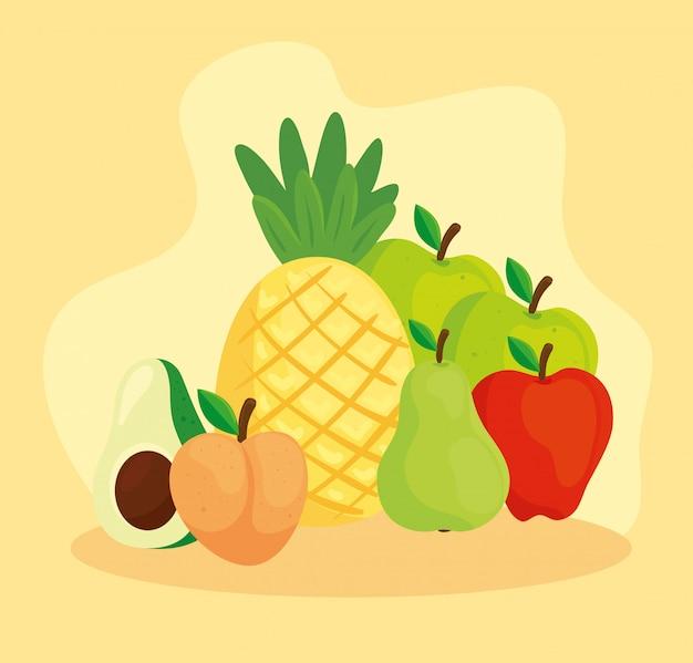 Piña y frutas tropicales frescas