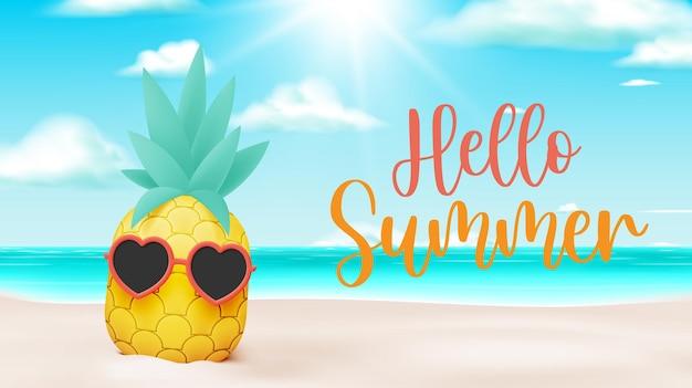 Piña de frutas tropicales en un lindo estilo de arte de diseño de personajes 3d