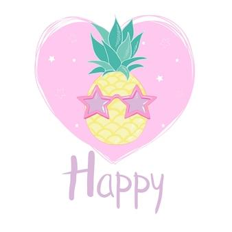 Piña con gafas de diseño, exóticas, alimentos, frutas, ilustración naturaleza piña verano tropical vector dibujo fresco