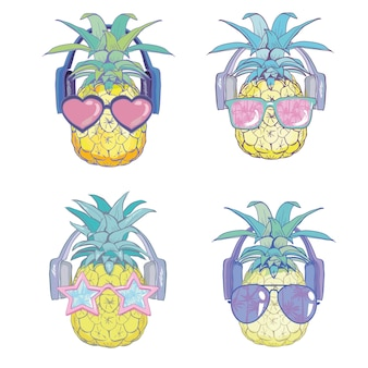 Piña con gafas de sol y auriculares
