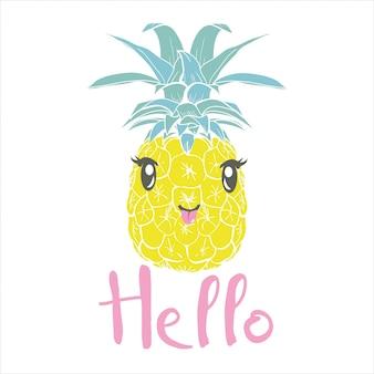 Piña con gafas tropicales, vector, ilustración, diseño, exótico, comida, fruta