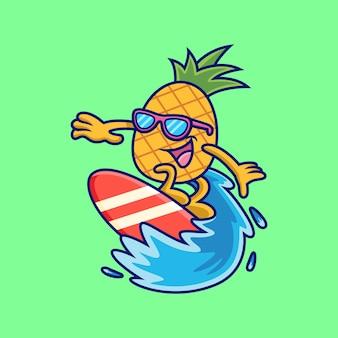 Piña jugando dibujos animados de surf. ilustración de icono de vector de fruta, aislado en vector premium