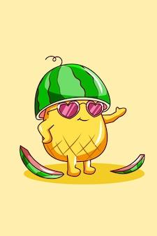 Piña linda y feliz con sandía en la ilustración de dibujos animados de verano