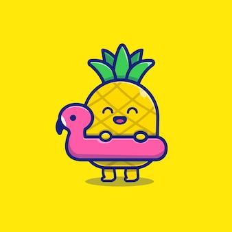 Piña linda con la ilustración del icono del flamenco de la natación. concepto de icono de frutas de verano.