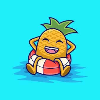 Piña relajarse en dibujos animados de anillo de natación. ilustración de icono de vector de fruta, aislado en vector premium