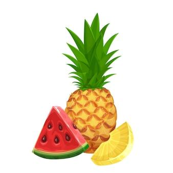 Piña y una rodaja de sandía. banner de frutas