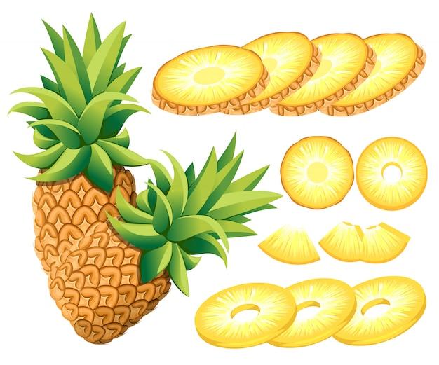 Piña y rodajas de piña. ilustración de piñas. ilustración para cartel decorativo, producto natural emblema, mercado de agricultores. página web y aplicación móvil