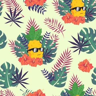 Piña tropical de patrones sin fisuras para fondo de pantalla