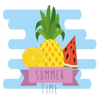 Piña tropical con sandia y limon con cinta