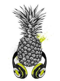 Piñas en auriculares. fruta exótica.