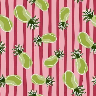 Piñas verdes al azar fruta tropical de patrones sin fisuras