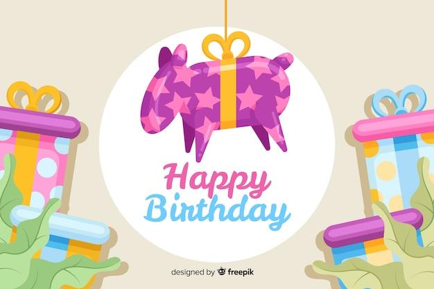 Piñata colgante con fondo de feliz cumpleaños