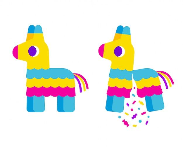 Piñata de dibujos animados de rayas brillantes, linda ilustración plana simple. roto con confeti y dulces.