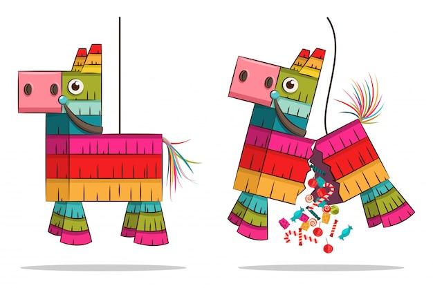 Pinata mexicana de caballo con dulces