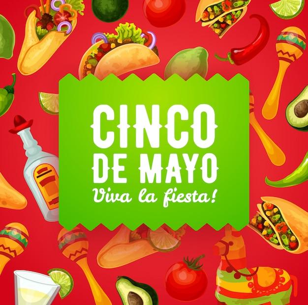 Piñata mexicana, maracas y comida. cinco de mayo