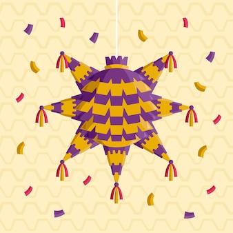 Piñata posada de diseño plano con confeti