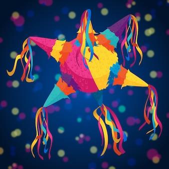 Piñata posada de diseño plano con efecto bokeh