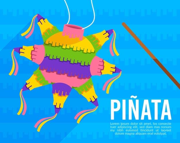 Piñata posada mexicana de diseño plano con dulces