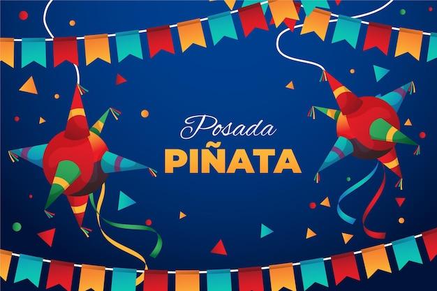 Piñata posada realista con confeti