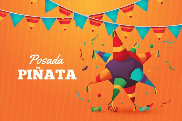 Piñata posada realista y gorro de fiesta