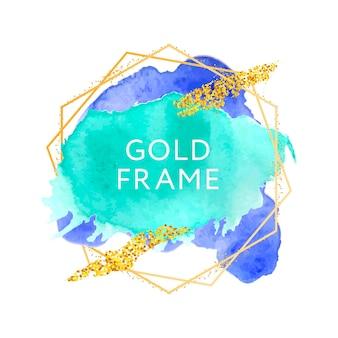 Pincel abstracto diseño de textura de pintura trazo de acrílico sobre marco dorado