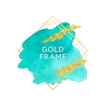Pincel abstracto diseño de textura de pintura trazo de acrílico sobre marco dorado Vector Premium