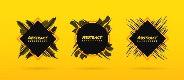 Pincel abstracto sobre fondo amarillo, plantilla de pintura de pincel de tinta con marco