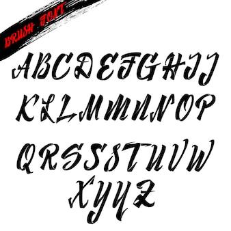 Pincel de fuente, cursiva del alfabeto latino para letras
