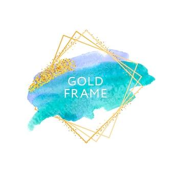 Pincel grunge arte pintura textura abstracta, trazo acrílico con marco dorado