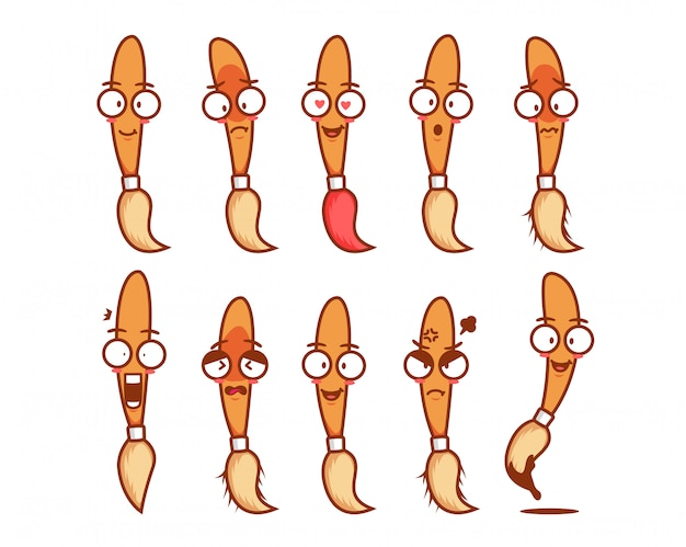 Pincel lindo personaje de mascota de dibujos animados divertido emoji emoticon conjunto de expresión de la cara