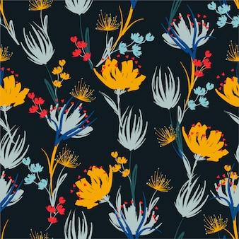 Pincel de mano de contraste colorido floral patrón de repetición sin fisuras con flores