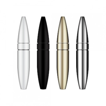 Pincel de rimel. tubos de rímel en blanco, plateado, blanco, dorado y negro. ilustración del envase del producto cosmético