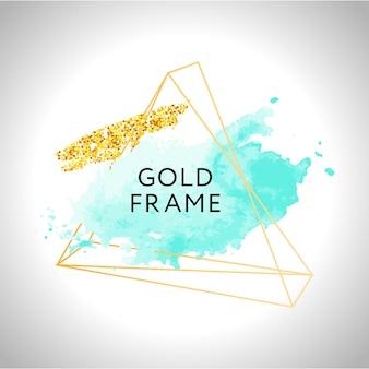 Pinceladas de acuarela blanco y turquesa y marco de oro rosa. fondo de vector abstracto.