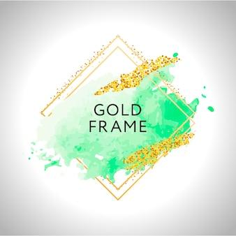 Pinceladas de acuarela verde en marco dorado