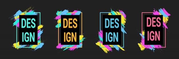 Pinceladas coloridas con marcos para texto, gráficos de arte moderno, estilo hipster