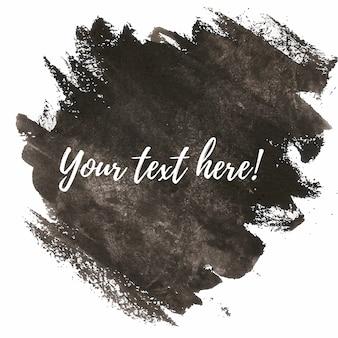 Pinceladas negras de acuarela con plantilla de texto