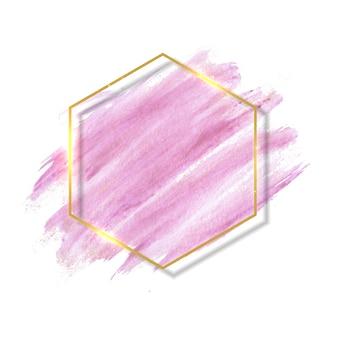 Pinceladas de pincel rosa y rosa pastel y marco de contorno dorado.