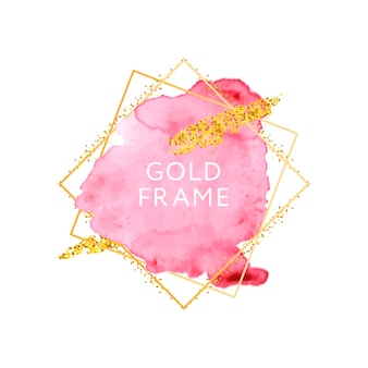 Pinceladas rosadas y desnudas y plantilla de marco dorado