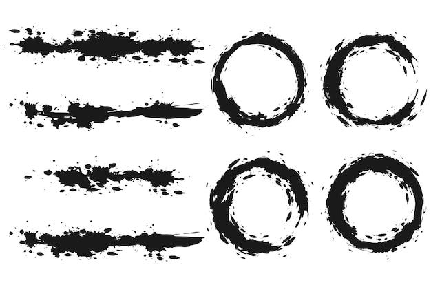 Pinceles y círculo conjunto aislado sobre fondo blanco.
