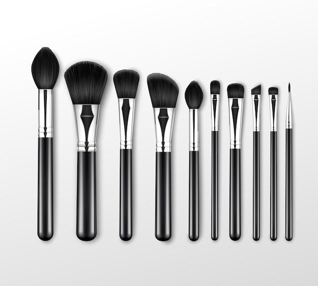 Pinceles de maquillaje profesionales black clean