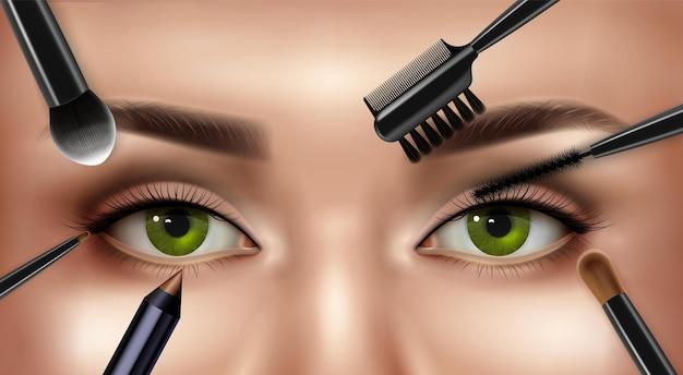 Pinceles de sombra de ojos sobre la cara de la mujer