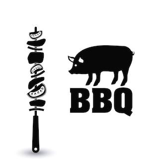 Pincho de carne barbacoa de cerdo y el icono de menú de la parrilla